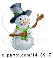 Clipart Of A Presenting Christmas Snowman Wearing A Green Scarf And A Top Hat Royalty Free Vector Illustration