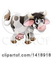 Clipart Of A Cartoon Cute Happy Cow Smiling Royalty Free Vector Illustration by AtStockIllustration