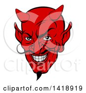 Clipart Of A Grinning Red Devil Face With A Goatee And Curling Mustache Royalty Free Vector Illustration