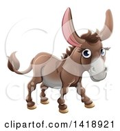 Clipart Of A Cartoon Happy Cute Donkey Royalty Free Vector Illustration