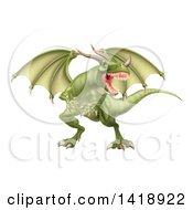 Clipart Of A Mad Green Dragon With A Horned Nose Royalty Free Vector Illustration