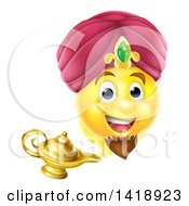 Clipart Of A Smiley Emoji Emoticon Genie Emerging From A Lamp Royalty Free Vector Illustration by AtStockIllustration