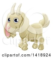Clipart Of A Cartoon Happy Cute White Goat Royalty Free Vector Illustration
