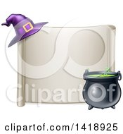 Clipart Of A Horizontal Blank Scroll Sign With A Boiling Cauldron And Purple Witch Hat Royalty Free Vector Illustration
