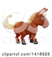 Clipart Of A Cartoon Happy Brown Horse Royalty Free Vector Illustration