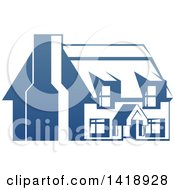 Clipart Of A Gradient Blue House With A Chimney Royalty Free Vector Illustration by AtStockIllustration