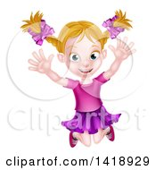 Clipart Of A Happy Blond White Girl Jumping Royalty Free Vector Illustration by AtStockIllustration