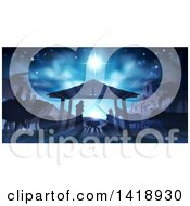 Blue Toned Nativity Scene With Animals Wise Men The City Of Bethlehem And Star Of David