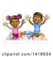 Clipart Of A Cartoon Happy Black Girl And Boy Kneeling And Finger Painting Artwork Royalty Free Vector Illustration by AtStockIllustration