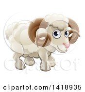 Clipart Of A Cartoon Happy Cute Ram Royalty Free Vector Illustration