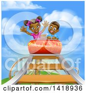Clipart Of A Happy Black Boy And Girl At The Top Of A Roller Coaster Ride Against A Blue Sky With Clouds Royalty Free Vector Illustration by AtStockIllustration