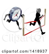 Clipart Of A Silhouetted Woman Sprinting Through A Finish Line Before A Clock Character Royalty Free Vector Illustration by AtStockIllustration