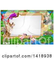 Clipart Of A African Safari Sign With Cute Animals At A Watering Hole Royalty Free Vector Illustration