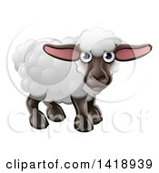 Clipart Of A Cartoon Happy Cute Sheep Royalty Free Vector Illustration