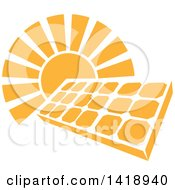 Clipart Of A Shining Orange Sun Behind A Solar Panel Photovoltaics Cell Royalty Free Vector Illustration