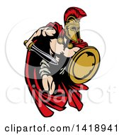 Clipart Of A Spartan Trojan Warrior Mascot Sprinting With A Sword And Shield Royalty Free Vector Illustration