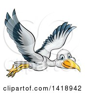 Clipart Of A Cartoon Happy Stork Bird In Flight Royalty Free Vector Illustration