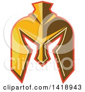 Clipart Of A Retro Golden Spartan Helmet With A Red Outline Royalty Free Vector Illustration by patrimonio