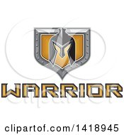 Clipart Of A Retro Spartan Helmet Over A Silver And Gold Shield And Warrior Text Royalty Free Vector Illustration