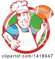 Retro Happy Chubby Male Chef Spinning A Football On His Finger In A Red White And Green Circle
