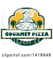 Clipart Of A Retro Male Chef Holding A Pizza Pie With Text And Palmetto Trees Royalty Free Vector Illustration