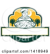Clipart Of A Retro Male Chef Holding A Pizza Pie With Palmetto Trees Royalty Free Vector Illustration