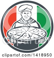 Clipart Of A Retro Male Chef Holding A Pizza Pie In An Italian Flag Circle Royalty Free Vector Illustration