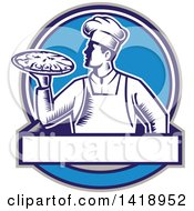 Retro Woodcut Male Chef Holding A Pizza Pie In A Blue Design