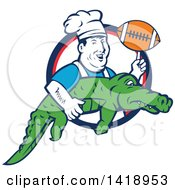 Clipart Of A Retro Male Chef Twirling A Football On His Finger And Carrying An Alligator Royalty Free Vector Illustration by patrimonio