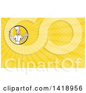 Clipart Of A Retro Cartoon White Male Chef Holding A Spatula And Serving A Roasted Chicken And Yellow Rays Background Or Business Card Design Royalty Free Illustration