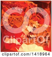 Clipart Of A Low Poly Abstract Geometric Background In Tomato Red Royalty Free Vector Illustration