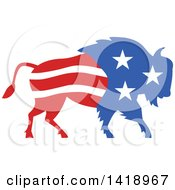 Clipart Of A Retro American Stars And Stripes Buffalo Royalty Free Vector Illustration