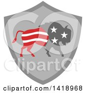 Clipart Of A Retro American Stars And Stripes Buffalo In A Gray Shield Royalty Free Vector Illustration by patrimonio
