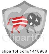 Retro American Stars And Stripes Buffalo In A Gray Shield