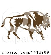 Clipart Of A Retro Woodcut Buffalo Bison Walking Royalty Free Vector Illustration