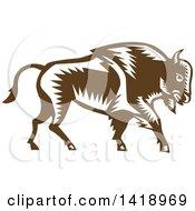Retro Woodcut Buffalo Bison Walking