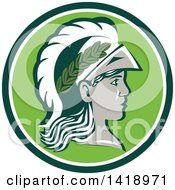 Clipart Of A Profile Portrait Of The Roman Goddess Of Wisdom Minerva Or Menrva Wearing A Helmet And Laurel Crown In A Green And White Circle Royalty Free Vector Illustration by patrimonio