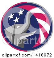 Retro Republican Elephant Spraying American Stars And Stripes In A Circle
