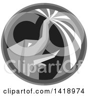 Clipart Of A Retro Grayscale Elephant Spraying Water From His Trunk In A Circle Royalty Free Vector Illustration