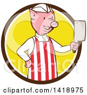 Clipart Of A Cartoon Pig Butcher Holding A Cleaver Knife In A Brown White And Yellow Circle Royalty Free Vector Illustration by patrimonio