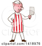 Clipart Of A Cartoon Pig Butcher Holding A Cleaver Knife Royalty Free Vector Illustration by patrimonio