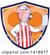 Cartoon Pig Butcher Holding A Cleaver Knife In A Blue White And Orange Shield
