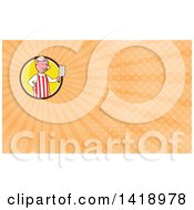 Clipart Of A Cartoon Pig Butcher Holding A Cleaver Knife And Orange Rays Background Or Business Card Design Royalty Free Illustration