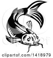 Clipart Of A Retro Black And White Woodcut Koi Carp Fish Royalty Free Vector Illustration