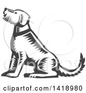Clipart Of A Retro Woodcut Sitting Welsh Terrier Dog Royalty Free Vector Illustration