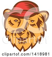 Clipart Of A Retro Woodcut Bear Face Wearing A Baseball Cap Royalty Free Vector Illustration