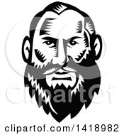 Clipart Of A Retro Black And White Woodcut Man With A Big Beard Royalty Free Vector Illustration