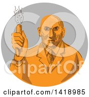 Clipart Of A Sketched Orange Mad Male Scientist Holding A Test Tube In A Gray Circle Royalty Free Vector Illustration