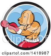 Cartoon Muscular Dog Man Fighter Boxing In A Black White And Blue Circle
