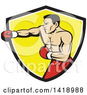 Clipart Of A Retro Muscular Male Boxer Jabbing In A Black White And Yellow Shield Royalty Free Vector Illustration by patrimonio